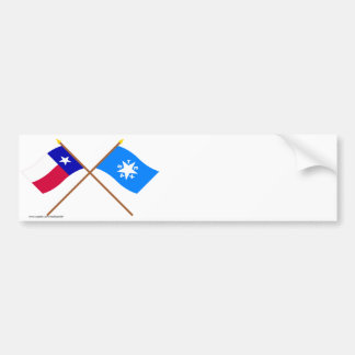Crossed Texas and Zavala Flags Bumper Sticker
