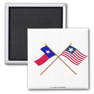 Crossed Texas Flag and Naval Ensign Square Magnet