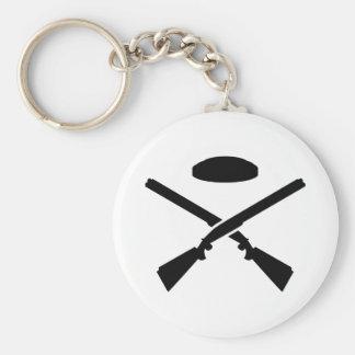 Crossed trap shooting shotguns basic round button key ring