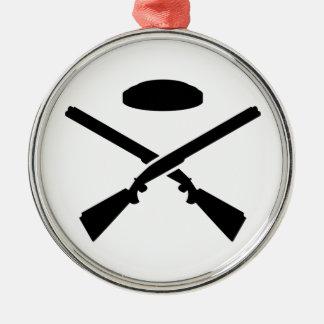 Crossed trap shooting shotguns christmas ornament