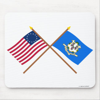 Crossed US 13-star and Connecticut State Flags Mousepad