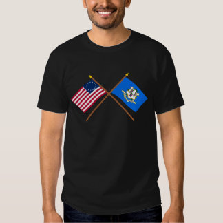 Crossed US 13-star and Connecticut State Flags Tees