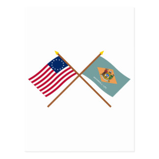 Crossed US 13-star and Delaware State Flags Postcard