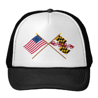 Crossed US 13-star and Maryland State Flags Mesh Hats