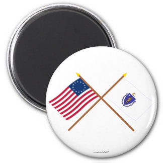 Crossed US 13-star and Massachusetts State Flags 6 Cm Round Magnet