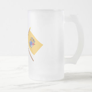 Crossed US 13-star and New Jersey State Flags Frosted Glass Beer Mug
