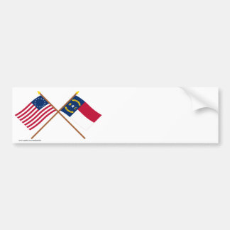 Crossed US 13-star and North Carolina State Flags Bumper Stickers