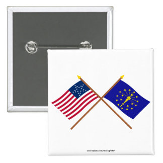 Crossed US 20-star and Indiana State Flags Buttons