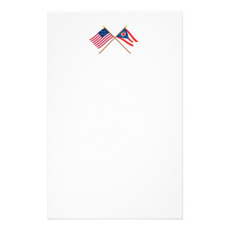 Crossed US 20-star and Ohio State Flags Stationery