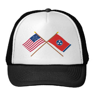 Crossed US 20-star and Tennessee State Flags Cap