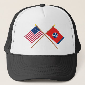 Crossed US 20-star and Tennessee State Flags Trucker Hat