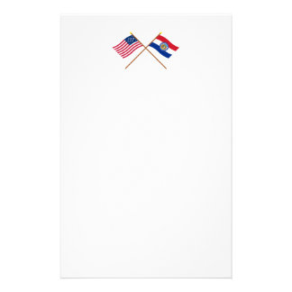 Crossed US 24-star and Missouri State Flags Customized Stationery