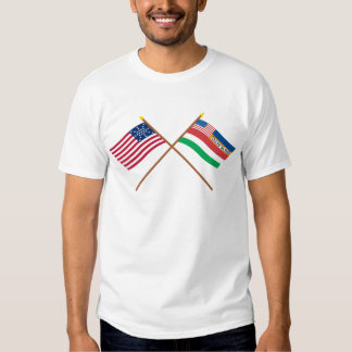 Crossed US 27-star and 1845 Florida State Flags Tee Shirt