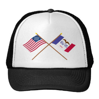 Crossed US 29-star and Iowa State Flags Cap