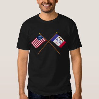 Crossed US 29-star and Iowa State Flags T-shirts