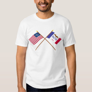 Crossed US 29-star and Iowa State Flags Tee Shirt