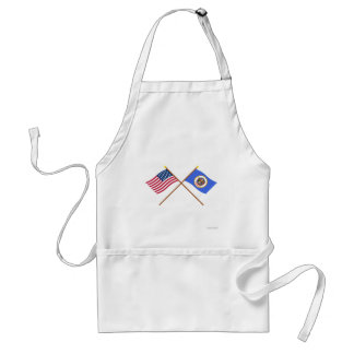 Crossed US 32-star and Minnesota State Flags Standard Apron