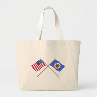 Crossed US 32-star and Minnesota State Flags Jumbo Tote Bag