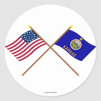 Crossed US 34-star and Kansas State Flags Classic Round Sticker