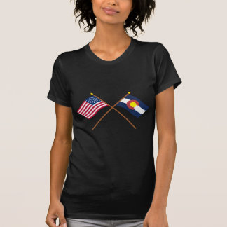 Crossed US 38-star and Colorado State Flags T-Shirt