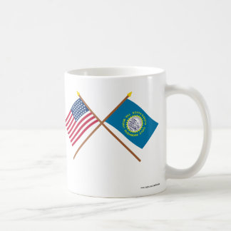 Crossed US 43-star and South Dakota State Flags Coffee Mugs