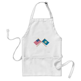Crossed US 43-star and South Dakota State Flags Standard Apron