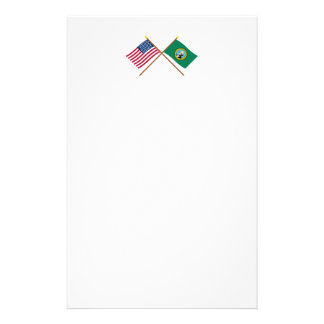 Crossed US 43-star and Washington State Flags Personalized Stationery