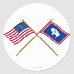 Crossed US 44-star and Wyoming State Flags Stickers
