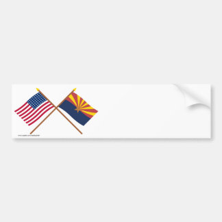 Crossed US 48-star and Arizona State Flags Bumper Sticker