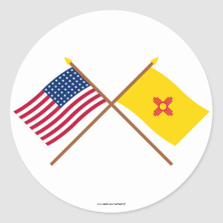 Crossed US 48-star and New Mexico State Flags Classic Round Sticker