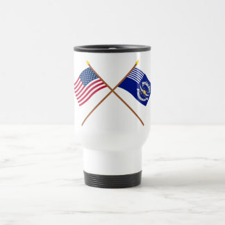 Crossed US and 2nd Regiment Light Dragoons Flags Stainless Steel Travel Mug