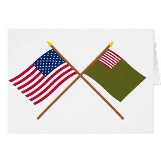 Crossed US and Delaware Militia Flags Card
