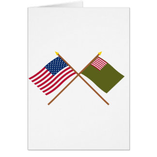 Crossed US and Delaware Militia Flags Greeting Card