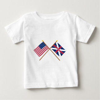 Crossed US and Fort Johnson Flags T Shirt