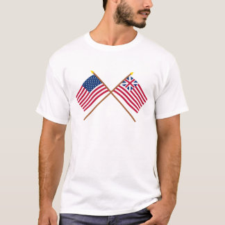 Crossed US and Grand Union Flags T-Shirt