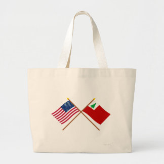 Crossed US and New England Flags Tote Bags