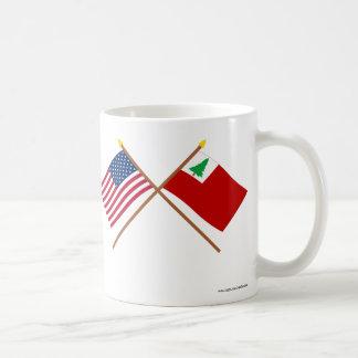 Crossed US and New England Flags Basic White Mug