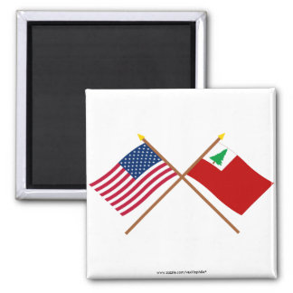 Crossed US and New England Flags Fridge Magnets