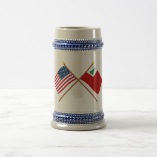 Crossed US and New England Flags 18 Oz Beer Stein