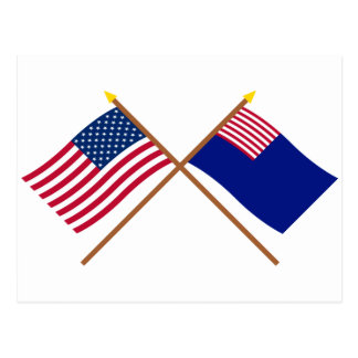 Crossed US and Pennsylvania Navy Flags Post Card