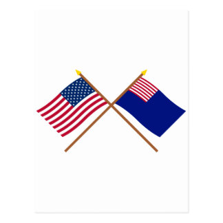 Crossed US and Pennsylvania Navy Flags Postcard