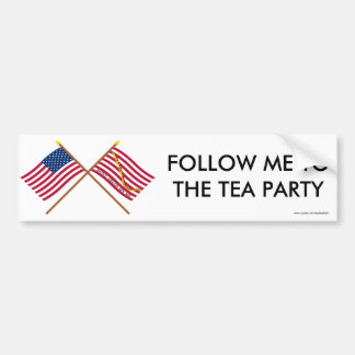 Crossed US and Rattlesnake Flags Bumper Stickers