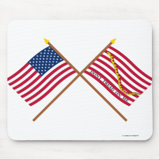 Crossed US and Rattlesnake Flags Mouse Pad
