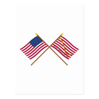 Crossed US and Rattlesnake Flags Post Cards