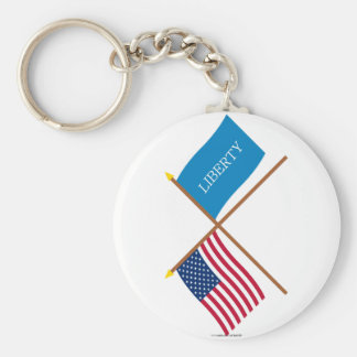 Crossed US and Schenectady Liberty Flags Key Chains