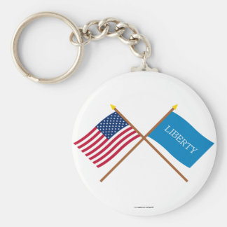 Crossed US and Schenectady Liberty Flags Key Chain