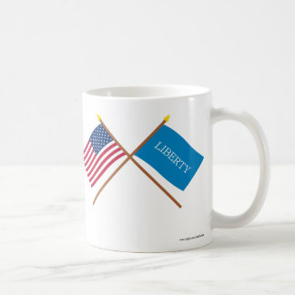 Crossed US and Schenectady Liberty Flags Coffee Mugs
