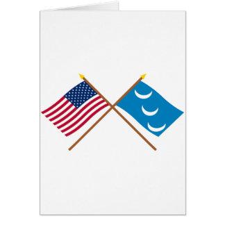 Crossed US and South Carolina Militia Flags Card