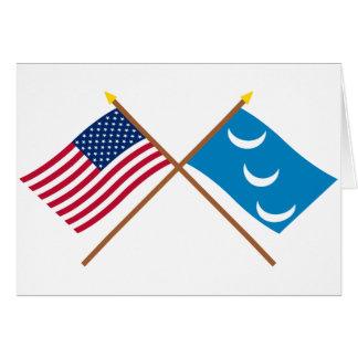 Crossed US and South Carolina Militia Flags Greeting Card