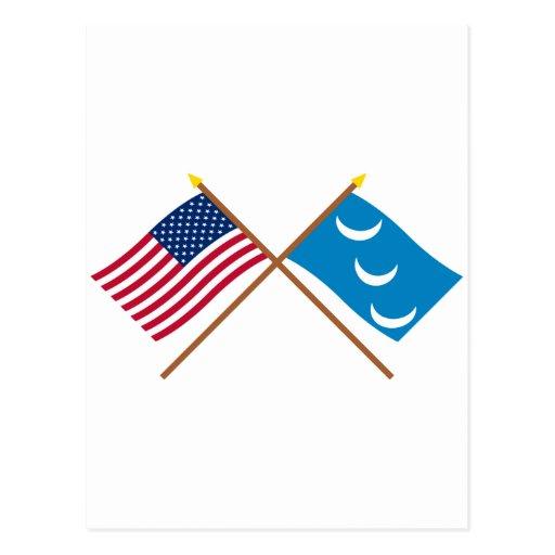 Crossed US and South Carolina Militia Flags Post Cards
